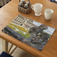 New Modern Sculpture Pattern  Placemat Table Mat Heat-insulation Linen Kitchen Dining Pads Placemats For