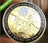 Free Shipping 3pcs/lot,NEW Sniper - You Can Run But You Will Only Die Tired Challenge Coin.