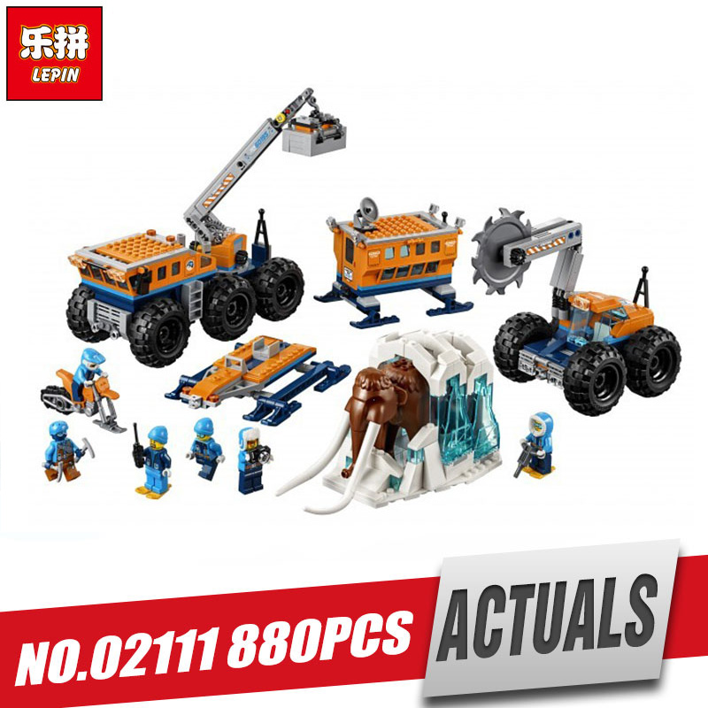 Lepin 02111 City Series The Legoinglys 60195 Arctic Mobile Exploration Base Set Building Blocks Bricks Car Model Kids Toys Gift lepin 02112 new city series the arctic supply plane set 60196 building blocks bricks legoinglys toys model boy christmas gifts