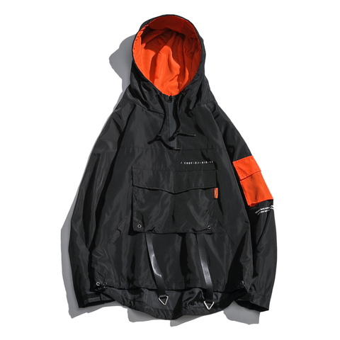 High Quality Japanese Streetwear Plus Size Casual Hooded Jackets Men Loose Front Pocket Outwear Wind Breakers Coats For Men Multan