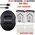 2x batería NP-BX1 NPBX1 batería + cargador DOBLE USB Para sony hdr-as200v as20 as100v az1 x1000v wx350 rx1 as15 dsc-rx100 RX100