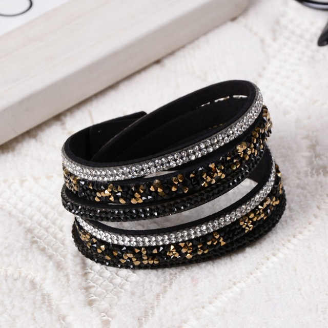 New Fashion Black Blue Red Velvet Leather Bracelet Rhinestone Crystal Double Wraps Multilayer Bracelets for women Ladies Jewelry