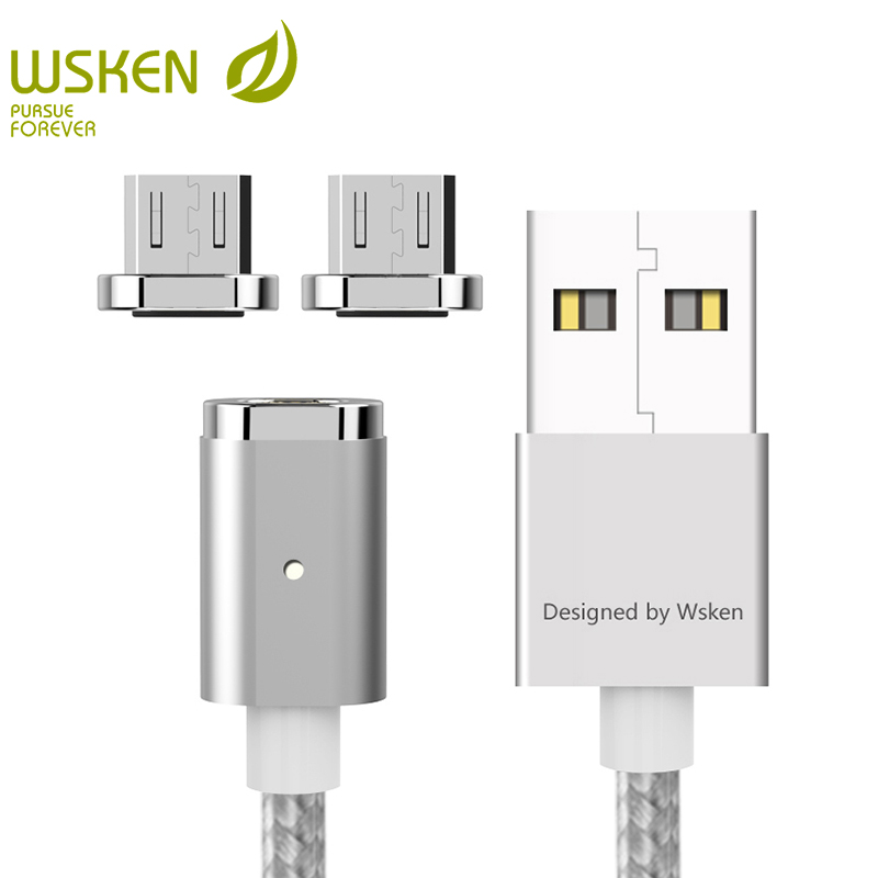 WSKEN Mini 2 LED Magnetic USB Cable Fast Charging Magnetic Charger Micro USB Cable For Samsung S6 S7 Edge Micro USB Devices 1M