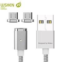 Wsken Mini 2 светодиодный магнитный кабель USB быстрой зарядки Магнитная Зарядное устройство Micro USB кабель для Samsung S6 S7 Edge Micro USB устройств 1 м