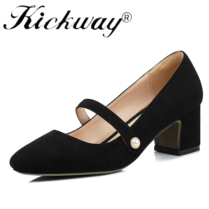 Kickway 2017 New genuine leather shoes med heels women shoes square toe dress pumps for women office ladies 6 colors big size 43 aiyuqi 2018 new 100% genuine leather women shoes big size 41 42 43 low heel pumps trend ladies shoes women dress shoes