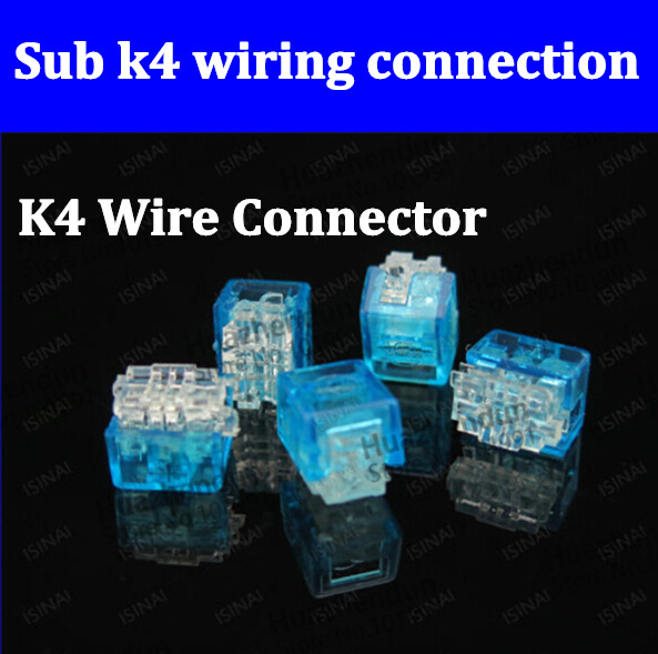 High quality,500pcs K4 Wire Connector,K4 cable connector,network cable terminal block for Telephone telecom Cable Free Shipping