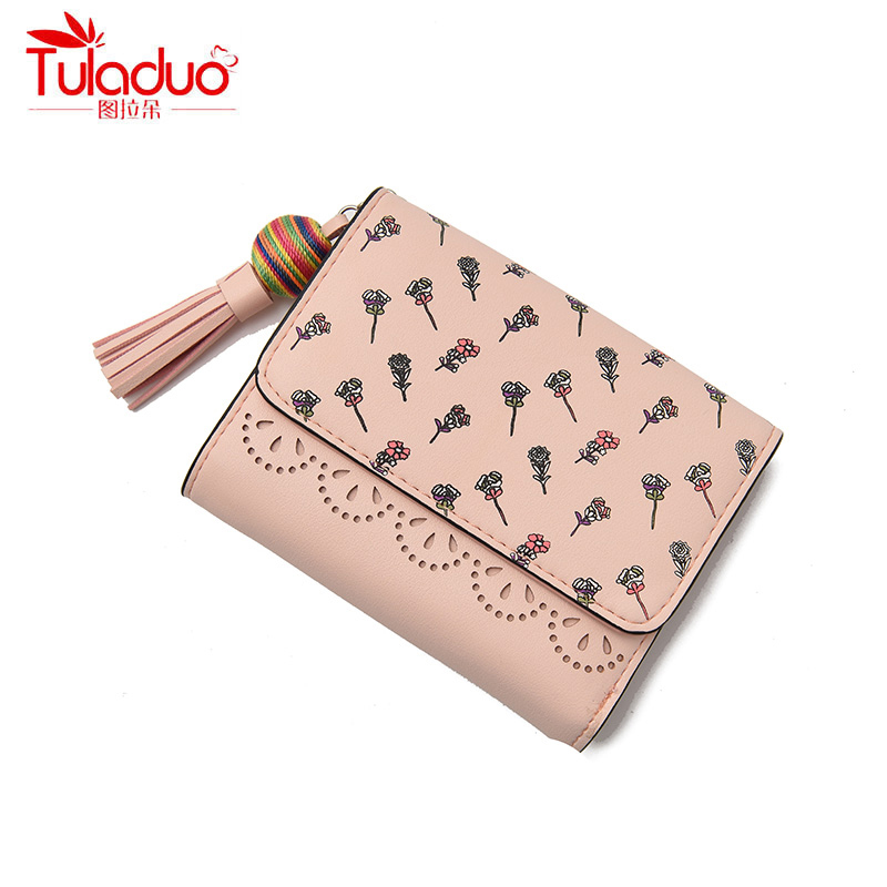 Fashion Floral Print Short Wallet for Girls Lace Coin Purse Women Small Wallet Sweet Lady Change Purse Hasp Mini Tassel Carteira characteristic floral and butterfly shape lace decorated body jewelry for women