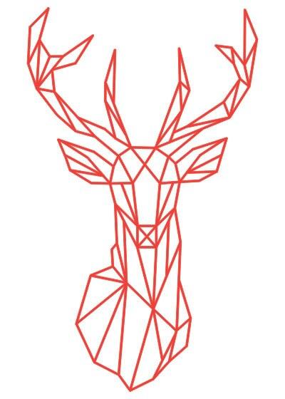 Geometric Deer Head Wall Stickers Home Decoration Bedroom Animals ...