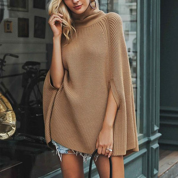Autumn Winter Women Turtleneck Capes Casual Pullover Knitting Sweater Shawl Loose Plus size Solid color Poncho Coat cape femme plus size fringed zigzag poncho sweater