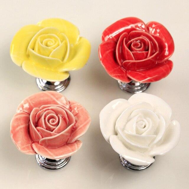 Rose drawer knob, blumen keramik knob für schrank, küchenschrank ...