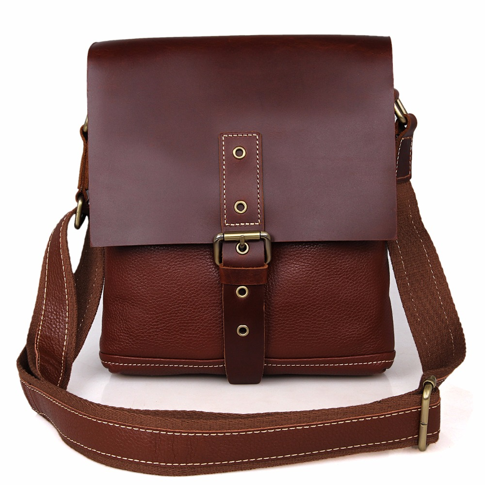New Fashion Red Brown Men Messenger Bag Genuine Leather Cross Body Bags Should Bags 7157B