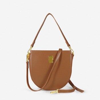 Повседневные седельные сумки для женщин, полукруглые Сумки из искусственной кожи, Наплечные сумки через плечо, дамские брендовые вместител