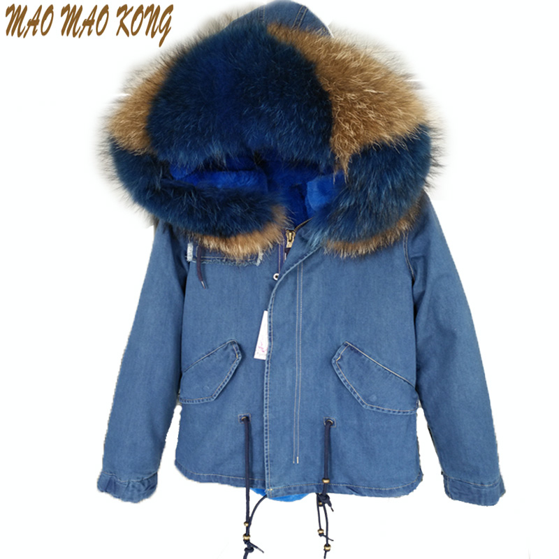 brand 2017 new winter blue denim winter jacket women parka fur coat outerwear real natural raccoon fur collar hooded warm parkas 2017 winter new clothes to overcome the coat of women in the long reed rabbit hair fur fur coat fox raccoon fur collar