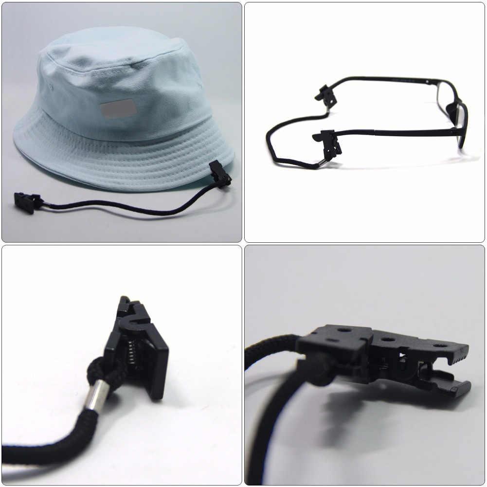 2 قطعة حامل دائم في الهواء الطلق متعددة الاستخدام المحمولة القوارب يندبروف قبعة قبعة التجنيب الغولف وشاح كليب الصيد الأسود حبل نايلون