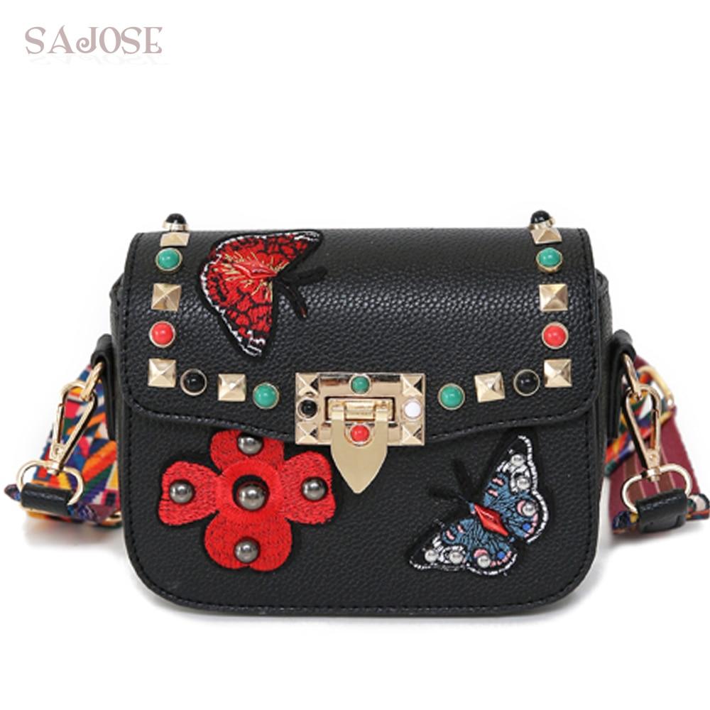 Women Crossbottom Bag PU Leather Fashion Messenger Shoulder Small Black Rivets Ribbons Flowers Designer Lady Handbag SAJOSE
