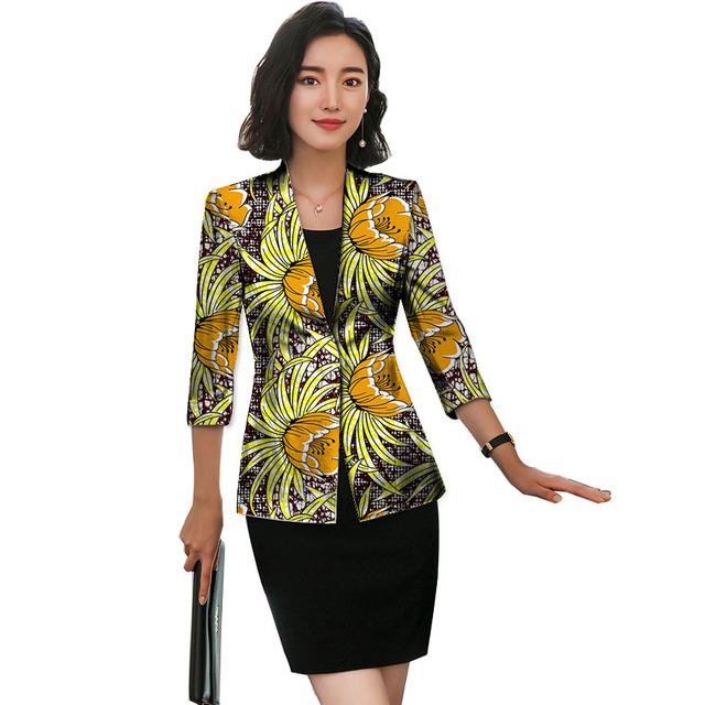 African Blazer For Women Fashion Ankara Blazer Three Quarter Sleeve