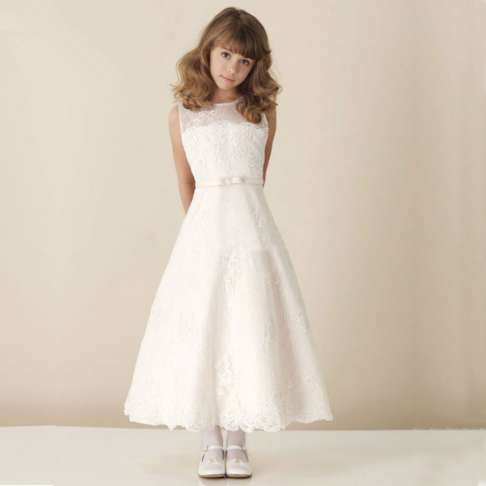 Scoop Sleeveless First Communion   Dresses   For   Girls   vestidos de primera comunion White Long   Flower     Girl     Dresses   For Weddings