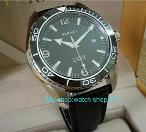 Image 3 - sapphire Crystal 45mm PARNIS Japanese 21 Jewels Automatic Self Wind Mechanical movement ceramics Bezel 5ATM Mens Watches 05a