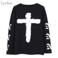 Lychee Harajuku Punk Rock Women T Shirt Cross Letter Print Casual Long Sleeve T Shirt Tee