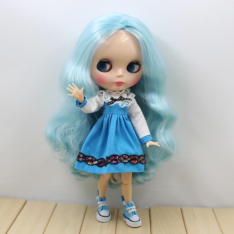 Блит кукла diy небесно-голубой длинные волосы обнаженная блайт куклы совместного органа 12 мода игрушки куклы для девочек