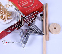 9pcs Set Stainless Steel Biscuits Cutter Set Christmas Tree Star Shape Cake Tools Cookies Cutter Baking