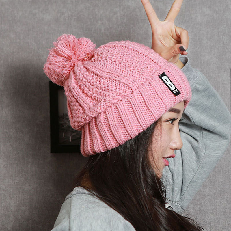 NEW 2016 Autumn Winter Knitted Women Caps Hats Gorros Beanie Female Hat Femme Toucas de Inverno feminina Women's Hats unisex 1d one direction letter hats gorros bonnets winter cap skullies beanie female hihop knitted hat toucas with pompom ball