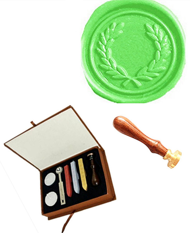 Vintage Olive Custom Picture Logo Wedding Invitation Wax Seal Sealing Stamp Sticks Spoon Gift Box Set Kit 1 design laser cut white elegant pattern west cowboy style vintage wedding invitations card kit blank paper printing invitation