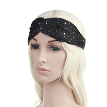 1PC Fashion Vintage Cross Sequins Headband Turban Women Wide Elastic Head Wrap Hairband