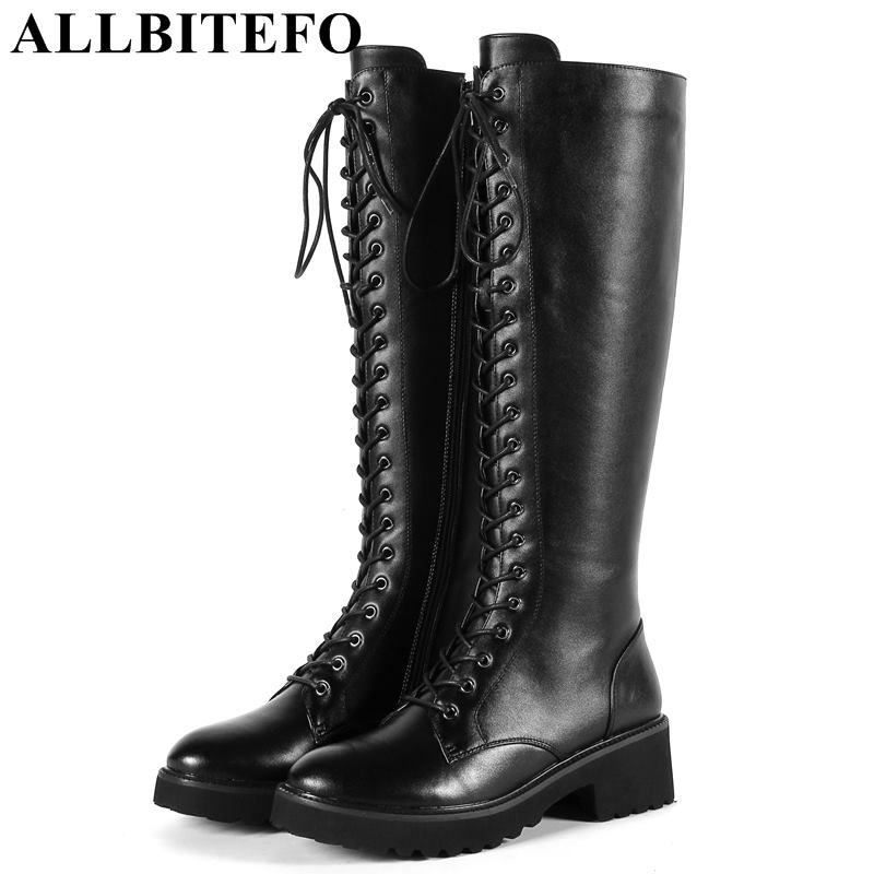 все цены на ALLBITEFO size:33-43 genuine leather+pu high heels ankle boots women fashion brand thick heel women boots winter girls shoes онлайн