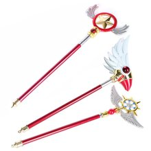 24-52 см Масштабируемые Sakura Card Captor маскарадные костюмы волшебные палочки Хэллоуин вечерние реквизиты оружие Kinomoto звезда птичья голова наклейки