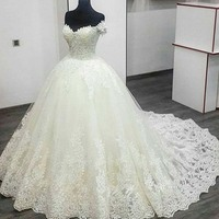 High Quality Deep V Neck Mermaid Sexy Wedding Dresses Lace Long Sleeves Custom Made Bridal Gown