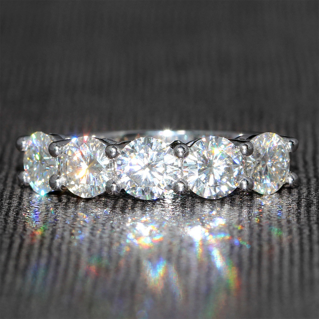 Queen Brilliance 2.5 Carat F Color Moissanite Diamond Wedding Band Half Eternity Band Matching Band Genuine 14K 585 White Gold