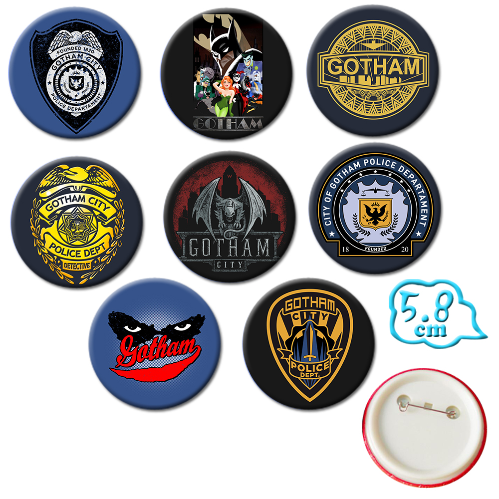 Giancomics America TV Gotham Brooch Badges Pins Set PVC Button Cartoon Brooch Chestpin Costume Backpack Ornament Accessory Gifts