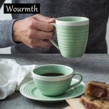 Wourmth костяного фарфора чашка зеленого и белого кофейная чашка и блюдце Керамика питьевой просто Кубок полоса моделирование вечерние поставки