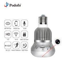 Podofo лампа Беспроводная VR IP камера Wifi свет 360 градусов панорамный 1080 P рыбий глаз домашняя камера видеонаблюдения ИК ночного видения
