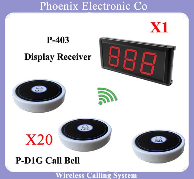 Restaurante Sistema de Pedidos Wireless Sistema de Paginación de Invitados Con el botón D1 20 unids y Localizador Inalámbrico P-403 1 unids Envío gratis