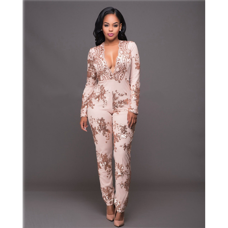 Sequin Jumpsuit Women Deep V Neck Long Sleeve Bodycon Jumpsuits Sexy Mesh Patchwork Rompers Ladies Glitter Club Party Overalls