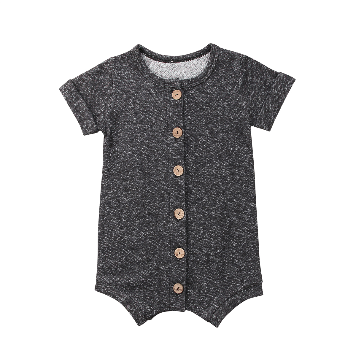 Boy Girl Romper Baby Boy Girl Summer Gray Short Sleeve Button Romper Jumpsuit Playsuit Cotton Shorts Clothes 0-24M
