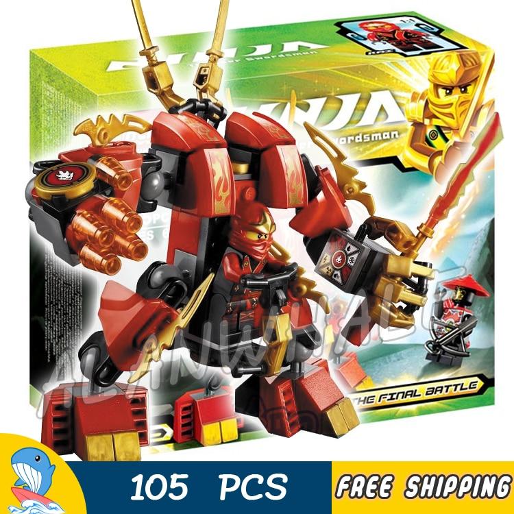 105 pcs Ninja Kais Feu Mech Kay Flamme Mecha Samurai D'or Robot 9790 Modèle Blocs de Construction Enfants Jouet Briques Compatible Avec lego