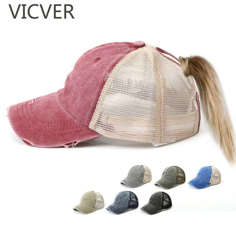 Distressed   Baseball     Cap   Messy Bun Ponytail Hat Women Mesh Trucker   Caps   Washed Cotton Adjustable Snapback Hip Hop Hats Summer   Cap