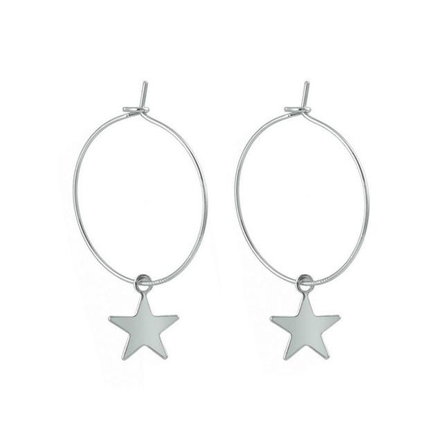 Simple Pentagram Hoop Earrings  3