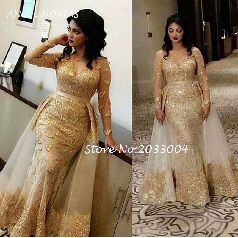 Long Sleeves Elegant Gold Mermaid Lace V Neck Arabic Elegant   Evening     Dress   2019 with Detachable Skirt Abiye Elbiseleri
