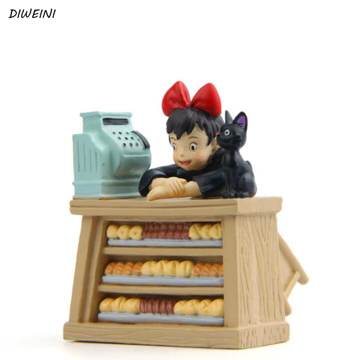1 Pcs/set Cute DIY Kiki's Delivery Service Kiki Cat Couple Cats PVC Action Figures Collection Model Toy for Garden Decor maoxin cute cat head finger grip metal ring kickstand for smartphones blue cats