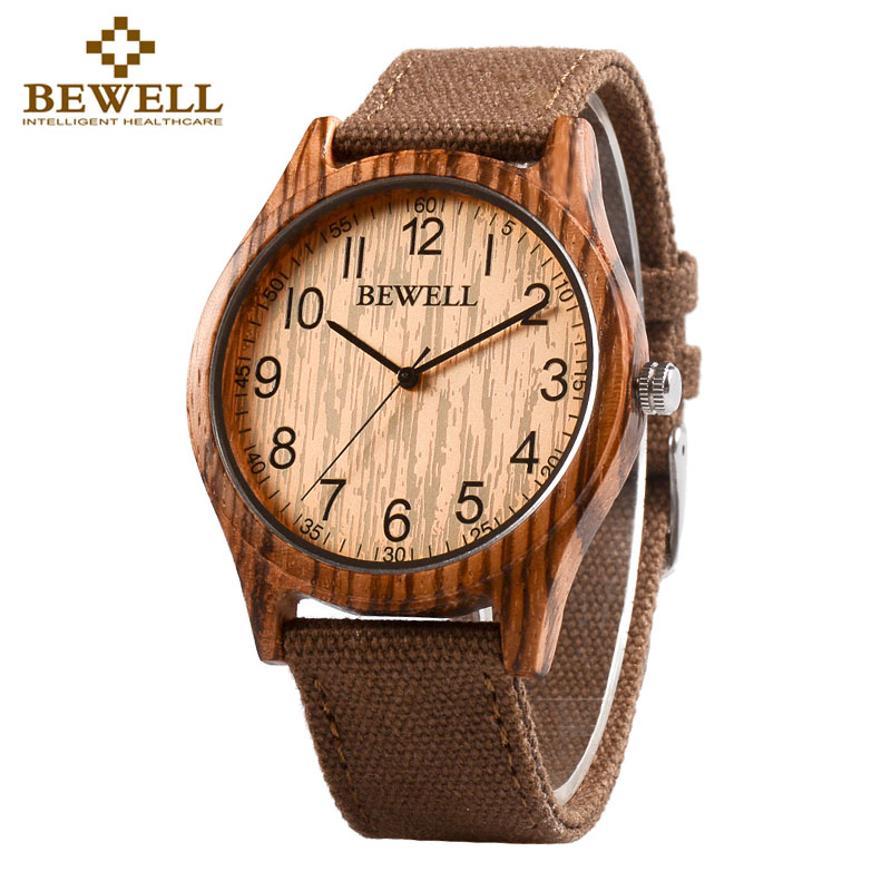 BEWELL Unisex Zebra Bamboo Wood Watch Mens Watches Top Brand Luxury Women Watches Canvas Band Wooden Men Sport Watch 124B