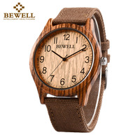 BEWELL 2017 New Arrival Casual Natural Wood Bamboo Watch With Canvas Band For Mens Gifts With