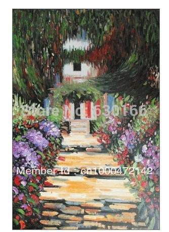 Canvas Landscape Oil Painting Garden Path at Giverny by Claude Monet Modern Art Painting Reproduction