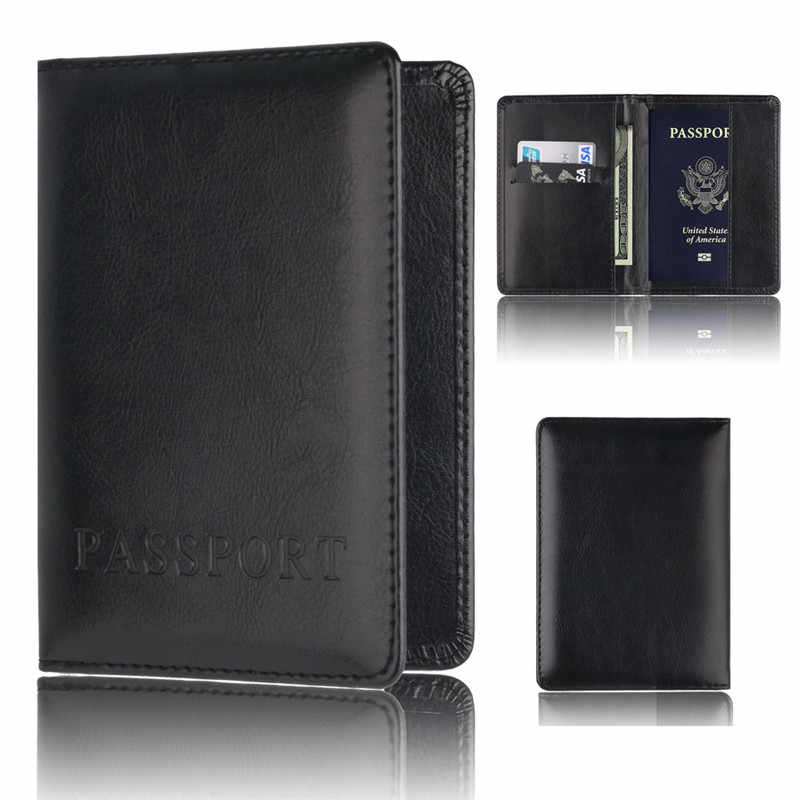 OCARDIAN Wallet Fashion Black  PU Leather Passport Holder Protector Wallet Business Card Soft Passport Cover Black 2019  F25