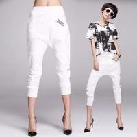High Quality New Arrivals Women Pants White Pants Elastic Waist Women Pencil Harem Pants Linen Pants