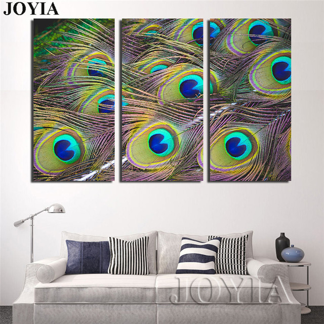 Pea Feather Wall Art 3 Piece Decor Canvas Print Large Modern Painting Set Bedroom Home Living