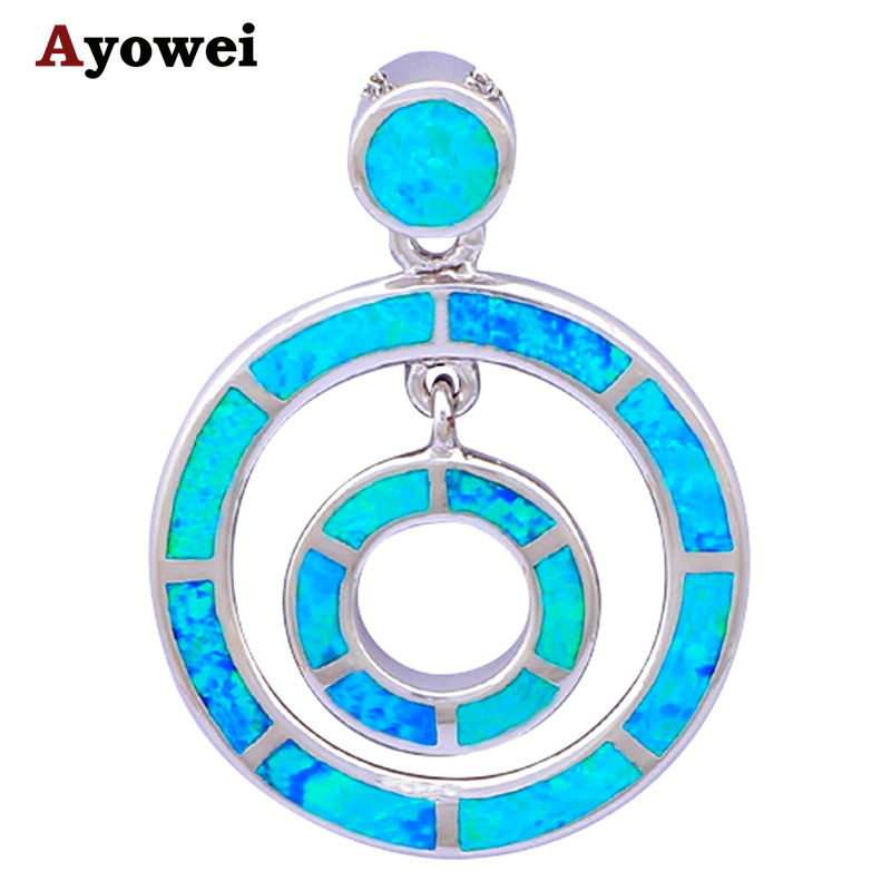 Round style Designers High Quality blue Fire Opal Pendants stamped Silver Fashion jewelry OP331A